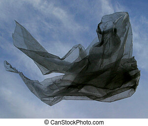 Plastic Bag Fly - A plastic bag floating in the air.