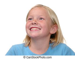 Blonde Smile v2 - Lovely blonde hair, blue eye girl looking...