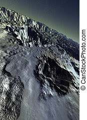 Acheron moon - Virtual flight over a moonlike landscape Very...