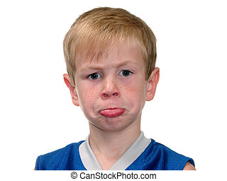 Pouting Boy v2 - Adorable pouting six year old boy facing...