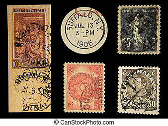 Old Postage - Photo of Old Postage Stamps.