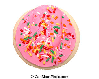 Pink Frosted Cookie - Single whole pink frosted and sprinkle...