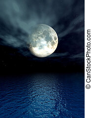 Moonlight Ocean - Digital created scenery.