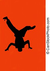 hip hop dancer :red - silhouette of a hip hop dancer on red...