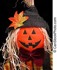 Pumpkin Scarecrow - Fall colored pumpkin head scarecrow Shot...