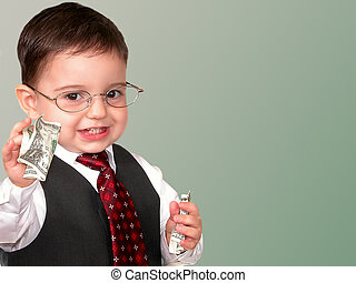 Mr. Money Bags - Little man in a suit and tie handing you...
