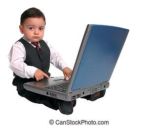 Little Man Laptop 3 - A serious little man looking up from...