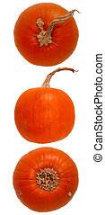 Pumpkin Trio - Three views, top, middle, bottom of a fresh...