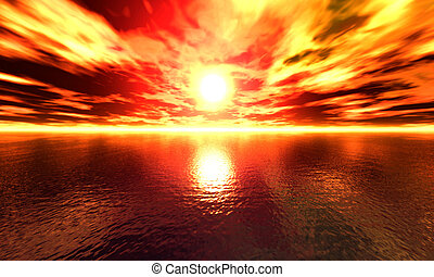 Ocean Sunset - High res, digitally created ocean sunset.