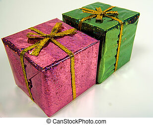 Giftboxes - Photo of a Pink and Green Giftbox