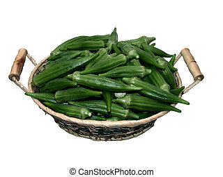 Okra Basket - Basket of fresh unwashed raw okra. Shot on...