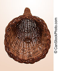 Empty Horn Basket - Front view of an empty wicker horn...