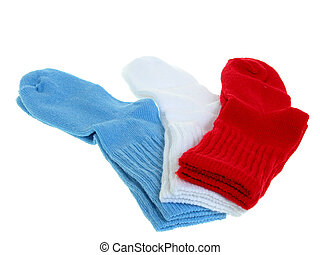 Toddler Socks - Pair of red, blue and white toddler stocks...
