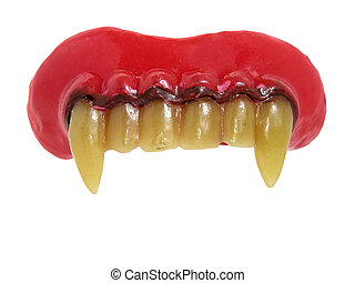 Vampire Teeth - Plastic upper vampire teeth isolated on...