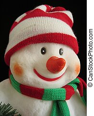 Smiling Snowman I - A smiling snowman with red-white bobble...