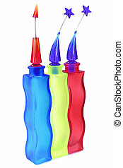Bright Glass Vases2 - Brightly coloured glass vases with...