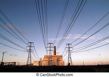 Electricity generat - Coal-fired power station in the north...