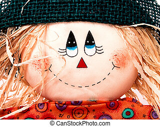 Scarecrow Close-up - Close up head shot of a friendly little...