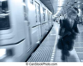 em, trem, statio