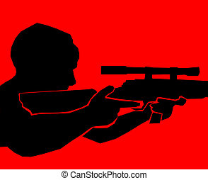 terrorist - red - a silhouette of a sniper