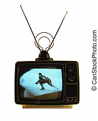 Hockey Player - Hockey player on old black and white TV
