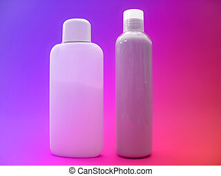 Lotion series 3 - 2 unlabelled bottles of lotion on a very...