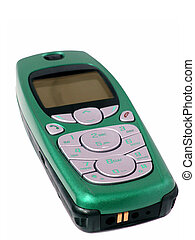 Emerald Cellphone - Emerald cased cellphone isolated on...
