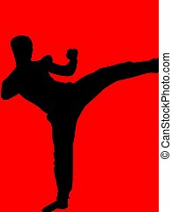 kickboxer - red - a silhouette of a kickboxer
