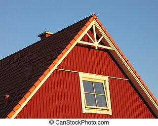 Red House - A red house with a white window