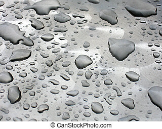 Silver Waterdrops - Waterdrops an a grey background.