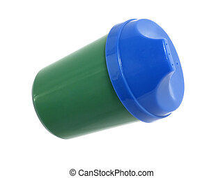 Blue and Green Cup - Blue and green plastic spillproof...