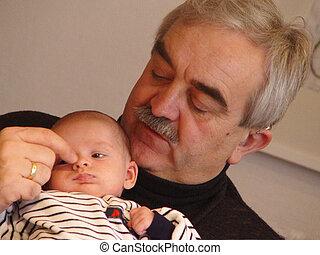 grandpa's finger - granddad and grandchild