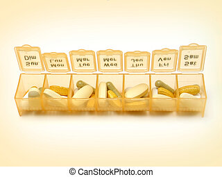 Daily Pills 5 - A daily pill container filled with various...