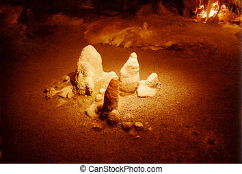 Stalagmites - Cave formations taking shape over thousands of...