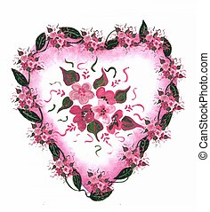 Pink Heart floral - Illustration heart decoration