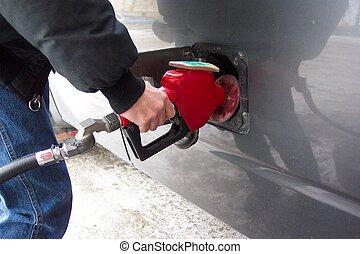 Pumping gas - Self serve gas bar, pump your own!