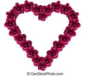 Silk rose heart - Valentine border white background
