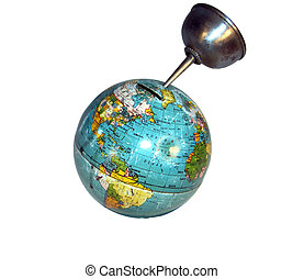 Oil Crises 2 - Isolated globe bank with oil can