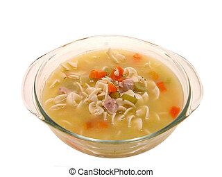 Chicken Noodle Soup - Chunky chicken and vegetable soup in a...