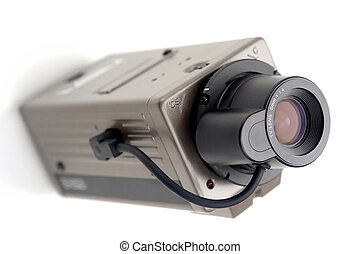 Security TV Camera - Picture of security tv camera on white...