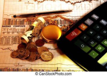 Finance - Photo of Money, Stock Quotes, Pen and Calculator...
