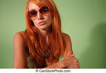 Sun Glasses 2 - A model poseing with sunglasses and black...