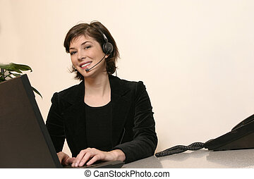 Headset and Woman - A telemarker makes a great sale on a...