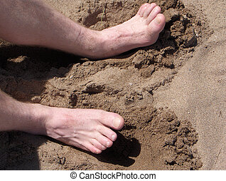 Toes in Sand - Feet digging in the sand
