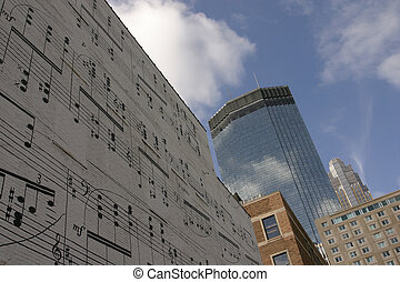 Music Wall - View of a painted music wall leads view to...