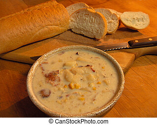 Corn and Potato Soup - Homemade corn potato chowder or soup...