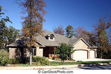Home in fall - A nice home with fall decorations on the...