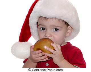 Santa Boy 03 - Small adorable boy in a red shirt and santa...