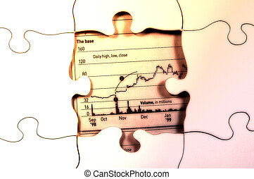 Stock Puzzle - Photo of a Puzzle With Stock Chart Below With...
