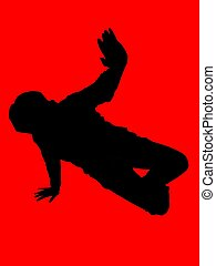 hip hop dancer - a female dancer on red background